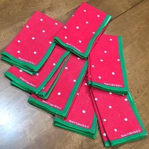 Vintage seven Marimekko cloth napkins red green